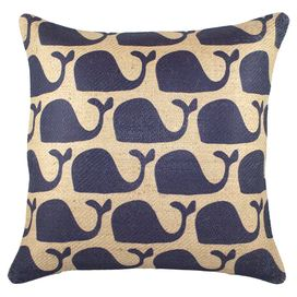 Navy+Whales+Pillow+II